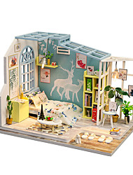 cheap -Dollhouse Model Building Kit DIY Furniture House Wooden Classic Kid's Toy Gift