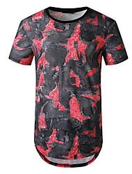 preiswerte -Herrn Batik Druck T-shirt Grundlegend Alltag Rote / Dunkelgray
