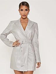 cheap -Women's Sheath Dress Short Mini Dress - Long Sleeve Solid Color Summer Fall Work Elegant Going out 2020 Silver XS S M