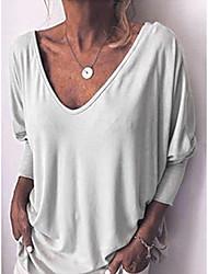 זול -בגדי ריקוד נשים אחיד טישרט צווארון V סקסי יומי אביב סתיו לבן שחור פול כתום אפור S M L XL 2XL