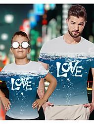 abordables -Papa et moi Actif Basique Graphique Lettre Manches Courtes Normal Tee-shirts Bleu