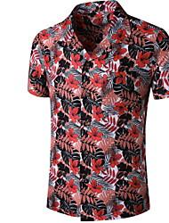 cheap -Men's Graphic Print Shirt Tropical Daily Button Down Collar Red / Short Sleeve