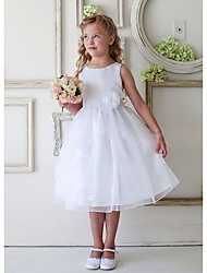 cheap -A-Line Knee Length Wedding / Party Flower Girl Dresses - Satin / Tulle Sleeveless Jewel Neck with Appliques / Ruching