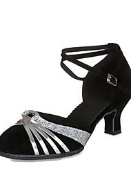 cheap -Women's Modern Shoes Suede Heel Cuban Heel Customizable Dance Shoes Black / Gold / Black / Silver / Red