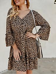 cheap -2020 SUMMER Leopard Print Long Sleeve Dress PLUS SIZE