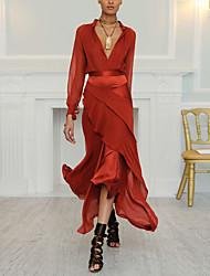 cheap -Sheath / Column Elegant Reformation Amante Wedding Guest Formal Evening Dress V Neck Long Sleeve Asymmetrical Spandex Satin with Tier 2020