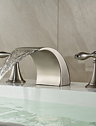 cheap -Bathroom Sink Faucet - Widespread / Waterfall Nickel Brushed Deck Mounted Two Handles Three HolesBath Taps