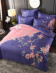 cheap -4 Pieces Duvet Cover Set Elegant Floral Pattern Brushed Comfortable Beddings