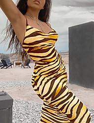 cheap -Women's Strap Dress Maxi long Dress - Sleeveless Leopard Animal Summer V Neck Sexy Slim 2020 Yellow Brown S M L