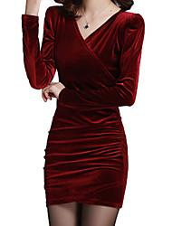 Недорогие -женский 2020 мини-бархатное вино черное платье повседневный праздник выходя из линии сплошной цвет v шеи м л слим