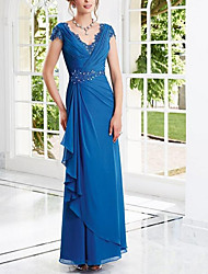 cheap -Sheath / Column Elegant Engagement Formal Evening Dress V Neck Short Sleeve Floor Length Chiffon with Beading Draping 2021