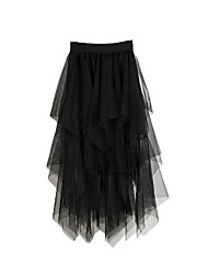 cheap -Women's A Line Skirts - Solid Colored Black Dark Gray One-Size