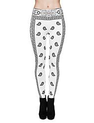 お買い得  -女性用 ヨガパンツ 3D印刷 ホワイト エラステイン ヨガ ランニング フィットネス サイクリングタイツ レギンス スポーツ アクティブウェア 速乾性 おなかコントロール バットリフト 吸汗性 高弾性 タイト