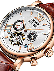 cheap -KINYUED Men's Mechanical Watch Analog Automatic self-winding Modern Style Tourbillion Casual Calendar / date / day Three Time Zones Day Date / One Year / Genuine Leather