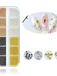cheap -12 Grids Multicolor Gold Silver Micro 3D Metal Nail Art Decorations Mix Size Caviar Beads Manicure Accessoires DIY Supplies Tool