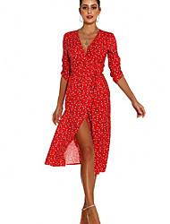 cheap -Women's A-Line Dress Midi Dress - Half Sleeve Floral Summer Casual Mumu 2020 Red Green Light Green Light Blue S M L XL XXL