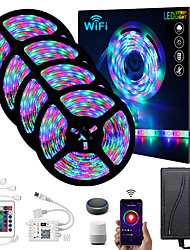 cheap -ZDM® 4x5M Light Sets RGB Strip Lights 1620 LEDs 2835 SMD 8mm 1 24Keys Remote Controller 1x 1 To 4 Cable Connector 1 DC Cables 1 set RGB Christmas New Year's APP Control Cuttable Party 12 V
