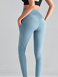 cheap -Women's High Waist Yoga Pants Side Pockets Patchwork Cropped Leggings Butt Lift 4 Way Stretch Breathable Light Purple Blue Nylon Non See-through Gym Workout Running Fitness Sports Activewear High
