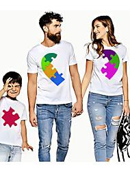 abordables -Regard de la famille Actif Basique Bloc de Couleur Graphique Imprimé Manches Courtes Normal Tee-shirts Blanche