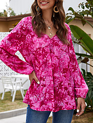 cheap -Women's Daily Weekend Plus Size Loose Blouse - Solid Colored Off Shoulder Blushing Pink