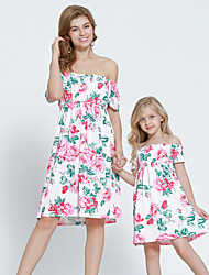 cheap -Mommy and Me Vintage Sweet Rose Floral Print Short Sleeve Knee-length Dress Blushing Pink