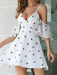 Недорогие -Праздничное мини-платье белого цвета с V-образным вырезом для женщин, форма линии mm0676