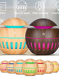 cheap -130ML Wood Humidifier Mist USB Electric Air Grain Ultrasonic Air Humidifier Cool Mist Maker With 7color Lights