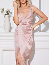 cheap -Women's Elegant Cut-Out Bandage Midi Satin Night Evening Dress MM0122