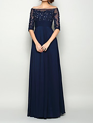 cheap -A-Line Mother of the Bride Dress Elegant Illusion Neck Off Shoulder Floor Length Chiffon Lace Half Sleeve with Pleats Beading Appliques 2020