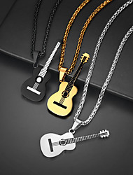 cheap -Pendant Necklace Charm Necklace Guitar Rock Fashion Folk Style Titanium Steel Black Gold Silver 55+5 cm Necklace Jewelry 1pc For Christmas Street Birthday Party Festival