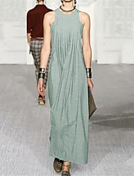 cheap -Sheath / Column Maxi Empire Holiday Prom Dress Jewel Neck Sleeveless Floor Length Spandex with Pleats 2020