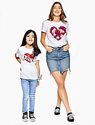 ieftine -Mama și cu mine Activ De Bază Floral Grafic Scrisă Imprimeu Manșon scurt Regular Tricou Alb
