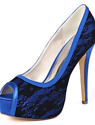 cheap -Women's Wedding Shoes Spring / Summer Stiletto Heel Peep Toe Minimalism Wedding Party & Evening Floral Lace White / Black / Light Purple