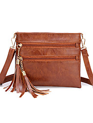 cheap -Women's Bags PU Leather / Polyester Crossbody Bag Tassel for Daily / Going out White / Black / Blue / Fall & Winter