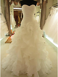cheap -Mermaid / Trumpet Wedding Dresses Sweetheart Neckline Court Train Organza Sleeveless Formal with Ruched Cascading Ruffles 2020