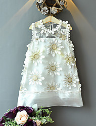 cheap -Kids Toddler Little Girls' Dress White Floral Plants Mesh Patchwork White Above Knee Sleeveless Cute Sweet Dresses Children's Day Regular Fit