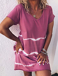 cheap -Women's Sheath Dress Knee Length Dress Purple Red Yellow Light Green Light Blue Short Sleeve Print Summer V Neck Elegant 2021 S M L XL XXL 3XL 4XL 5XL