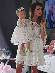 cheap -Mommy and Me Vintage Sweet Solid Colored Lace Cut Out Half Sleeve Knee-length Dress White
