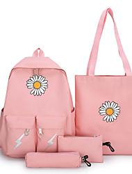 Недорогие -Большая вместимость Оксфорд Узоры / принт рюкзак Цветочные / ботанический Школа Черный / Розовый / Зеленый