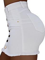 cheap -Women's Cotton Bodycon Skirts Solid Colored White Black Green / Mini / Slim