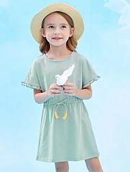 abordables -Enfants Fille Couleur Pleine Robe Rose Claire