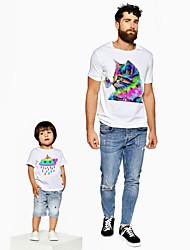ieftine -Tati si cu mine Activ De Bază Curcubeu Grafic Animal Manșon scurt Regular Tricou Alb