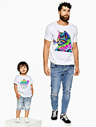 abordables -Papa et moi Actif Basique Arc-en-ciel Graphique Animal Manches Courtes Normal Tee-shirts Blanche