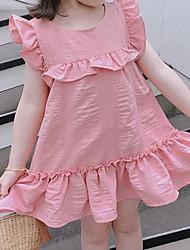 cheap -Kids Girls' Sweet Cartoon Ruffle Sleeveless Above Knee Dress White