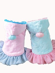 cheap -Dog Dress Dog Clothes Princess Blue Pink Cotton Costume For Spring &  Fall Men's Women's Casual / Daily