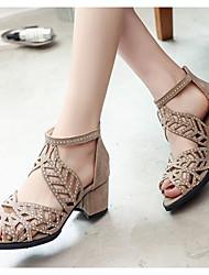 cheap -Women's Sandals Heel Sandals Summer Chunky Heel Peep Toe Daily PU Almond / Black