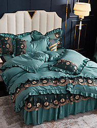 cheap -Ice Silk Bed skirt four-piece Silk Slip Nude sleeping tencel summer quilt wash silk bedspread