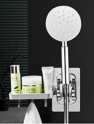 cheap -Wall Gel Mounted Shower Head Stand Bracket Holder Soap Dish With Hook Adjustable Bathroom Shower Head Fitting Portable Bathroom Accessories