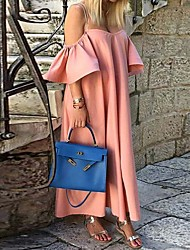 cheap -Women's Strap Dress Maxi long Dress - 3/4 Length Sleeve Solid Color Summer Casual 2020 White Black Blushing Pink S M L XL 4XL