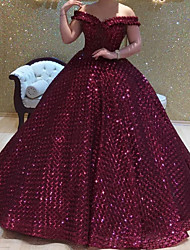 cheap -Ball Gown Elegant Sparkle Prom Formal Evening Dress Off Shoulder Short Sleeve Court Train Sequined with Sequin 2020